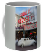 Pike Place Publice Market Neon Sign And Limo Coffee Mug