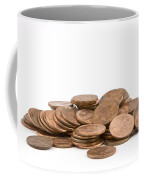 Pile Of American Pennies On White Background Coffee Mug
