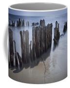 Pilings On The Beach Along A Lake Michigan Shore Coffee Mug