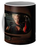 Pin Up Girl In A Classic Rat Rod Car Coffee Mug
