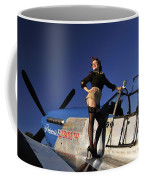 Pin-up Girl Standing On The Wing Coffee Mug
