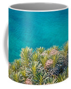 Pine Tree Branches With Turquoise Sea Background Coffee Mug