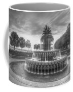 Pineapple Fountain In Black And White Coffee Mug