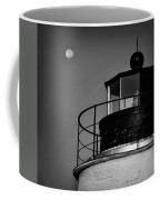 Piney Point Lighthouse And Moon In Black And White Coffee Mug