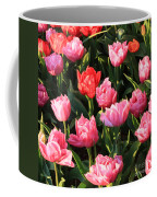 Pink And Red Ruffly Tulips Square Coffee Mug
