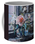Pink And White Roses In Silver Mug Coffee Mug