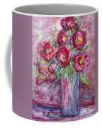 Pink Beauties In A Blue Crystal Vase Coffee Mug