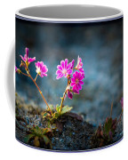 Pink Flower With Inkbrush Calligraphy Joyfulness Coffee Mug