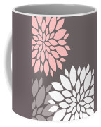 Pink Grey White Peony Flowers Coffee Mug