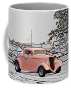 Pink Hot Rod Cruising Woodward Avenue Dream Cruise Selective Coloring Coffee Mug
