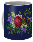 Pink Metallic Rose On Blue Coffee Mug