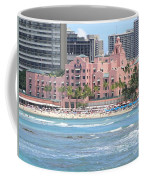 Pink Palace On Waikiki Beach Coffee Mug