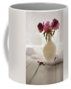 Pink Peonies In A Pot On The Wooden Table Coffee Mug