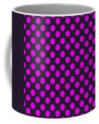 Pink Polka Dots On Black Fabric Background Coffee Mug