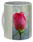 Pink Rose Bud With Drops Coffee Mug