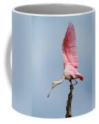 Pink Spoonbill Ready For Takeoff Coffee Mug