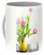 Pink Tulips In Yellow Vase Coffee Mug