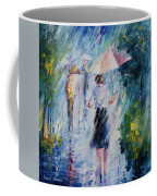 Pink Umbrella - Palette Knife Oil Painting On Canvas By Leonid Afremov Coffee Mug