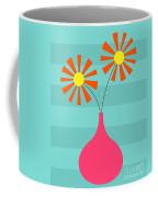 Pink Vase On Blue Coffee Mug
