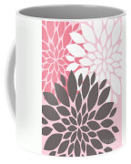 Pink White Grey Peony Flowers Coffee Mug