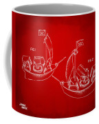 Pirate Ship Patent Artwork - Red Coffee Mug by Nikki Marie Smith