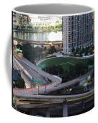 Pittsburgh Aerial Car Trails At Dusk 2 Coffee Mug