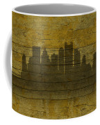 Pittsburgh Pennsylvania City Skyline Silhouette Distressed On Worn Peeling Wood No Name Version Coffee Mug