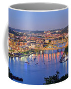 Pittsburgh Pennsylvania Skyline At Dusk Sunset Extra Wide Panorama Coffee Mug