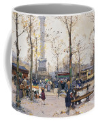 Place De La Bastille Paris Coffee Mug by Eugene Galien-Laloue