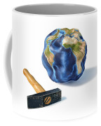 Planet Earth Smashed By A Hammer Coffee Mug