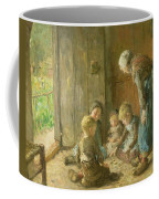 Playing Jacks On The Doorstep Coffee Mug by Bernardus Johannes Blommers