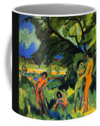 Playing Nudes Under Trees Coffee Mug