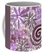 Plum And Grey Garden- Abstract Flower Painting Coffee Mug
