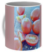 Plum Tomatoes On A Wooden Board Coffee Mug by Romulo Yanes