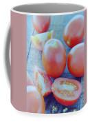 Plum Tomatoes On A Wooden Board Coffee Mug