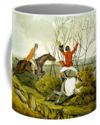 Plunging Through The Hedge From Qualified Horses And Unqualified Riders Coffee Mug by Henry Thomas Alken