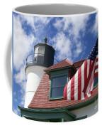 Point Betsie Lighthouse With Flag Coffee Mug