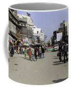 Police Vehicle And Barricades In Front Of Golden Temple In Amritsar Coffee Mug