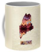 Polygon Mosaic Parchment Map Maine Coffee Mug