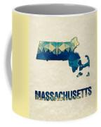 Polygon Mosaic Parchment Map Massachusetts Coffee Mug