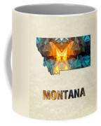Polygon Mosaic Parchment Map Montana Coffee Mug