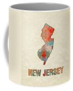 Polygon Mosaic Parchment Map New Jersey Coffee Mug