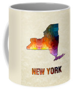Polygon Mosaic Parchment Map New York Coffee Mug