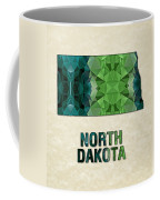 Polygon Mosaic Parchment Map North Dakota Coffee Mug