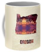 Polygon Mosaic Parchment Map Oregon Coffee Mug