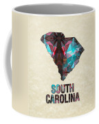 Polygon Mosaic Parchment Map South Carolina Coffee Mug