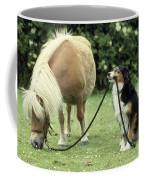 Pony With Lead Rope Held By Sitting Dog Coffee Mug