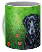 Poppy - Labrador Dog In Poppy Flower Field Coffee Mug