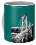 Portland Skyline St. Johns Bridge - Sea Green Coffee Mug