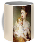 Portrait Of The Duchess Of St Albans With Her Son Coffee Mug